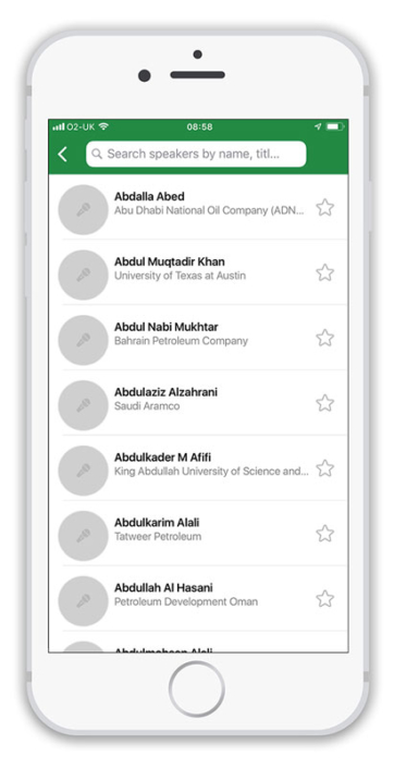 app screenshot of attendee list